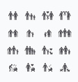 Family silhouette icons flat design set vector image