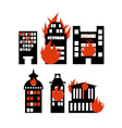 Fire building Set of icons lit city buildings vector image vector image