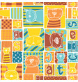 funny cat fabric patchwork wallpaper vector image vector image