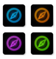 glowing neon wind rose icon isolated on white vector image vector image