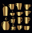 gold tea coffee cups pot set vector image