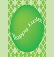 Green easter egg card on green diamond pattern vector image vector image