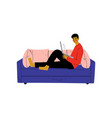 guy sitting on sofa with laptop young man working vector image vector image