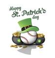 happy st patricks day and baseball ball vector image vector image
