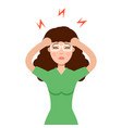headache girl high blood pressure concept vector image vector image