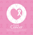 heart with ribbon breast cancer icons vector image vector image