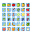 icons of fruits and vegetables vector image vector image