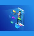 isometric digital marketing business marketing vector image vector image