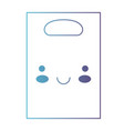 kawaii paper bag with handle in degraded blue to vector image vector image