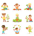 little children having fun and playing with vector image vector image