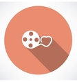 Love movie reel with hearts vector image vector image