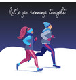 man and woman running together in winter park vector image vector image
