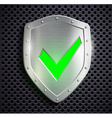 metal shield with green tick vector image vector image