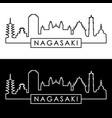 nagasaki city skyline linear style editable vector image vector image
