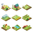 natural farming isometric 3d elements vector image