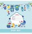 New born baby boy card shower invitation template vector image