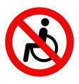 no disabled people allowed sign vector image vector image