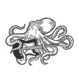 octopus playing electric guitar sketch vector image vector image