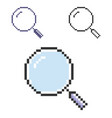 pixel icon magnifying glass in three variants vector image vector image