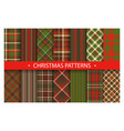 plaid pattern seamless ornate set christmas vector image vector image