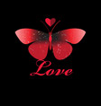 red butterfly in love with a heart vector image vector image