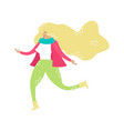 running blonde girl spring mood trendy hand-drawn vector image