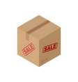 sale cardboard box isolated discount pasteboard vector image