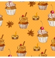 Seamless Background with Cupcake and Cinnamon vector image vector image
