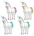set colored multi-colored unicorns vector image vector image