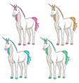 set of colored multi-colored unicorns vector image vector image