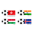 Soccer Ball with Hong Kong India Hungary Flag vector image