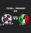 soccer game south korea vs mexico vector image vector image