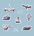 stickers of sea and air transport vector image