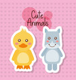 two cute animals baby duck and hippo friendly vector image