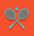 two tennis racket with ball sign whitish vector image vector image