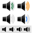 volume sound level indicators with speaker icons vector image vector image