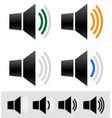 volume sound level indicators with speaker icons vector image