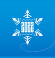 white snowflake on ice with new year date happy vector image