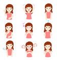 woman with different emotions cartoon vector image