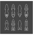 rocket icon and rocket silhouette set vector image