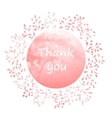 Thank you card with watercolor wreath vector image