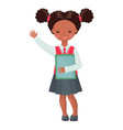 african american school girl character with books vector image