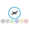 airplane takeoff rounded icon vector image vector image