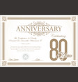 anniversary retro vintage background 80 years vector image vector image