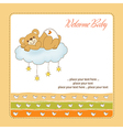 baby shower card with sleepy teddy bear vector image vector image