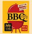 banner bbq party with barbecues grill vector image
