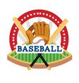 baseball sticker with field and professional vector image vector image