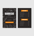 bbq menu template with hand drawn grilled vector image