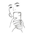 beautiful girl takes a selfie beautiful girl vector image