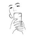 beautiful girl takes a selfie girl vector image